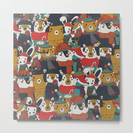 Funky Retro Christmas Animals Metal Print