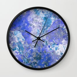 Cornflower Blue Abstract Painting Wall Clock