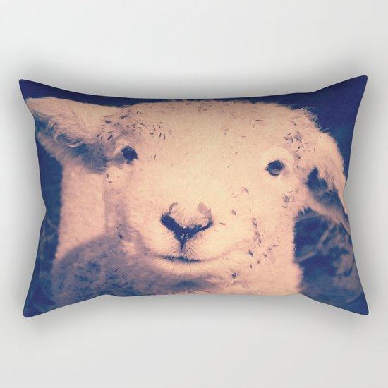 Innocence (Smiling White Baby Sheep) Rectangular Pillow