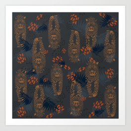 Midnight Leopard - Navy and orange Leopard and Palm pattern Art Print