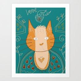 cat buddha doodle Art Print