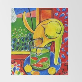 Henri Matisse - Le Chat Aux Poissons Rouges 1914, (The Cat With Red Fishes) Artwork Throw Blanket
