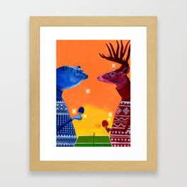 Bear Vs. Deer - Version 2 Framed Art Print