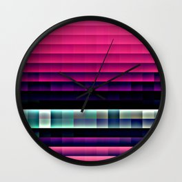 Hot Pink Pixels Wall Clock