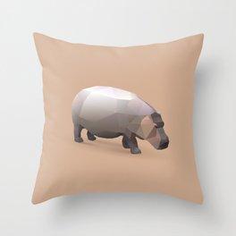 Geometric Hippo - Modern Animal Art Throw Pillow