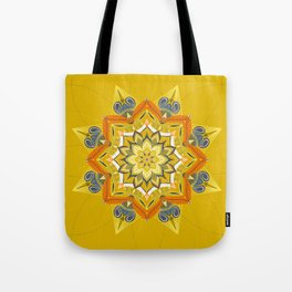 Hand Drawn Yellow Mandala Tote Bag