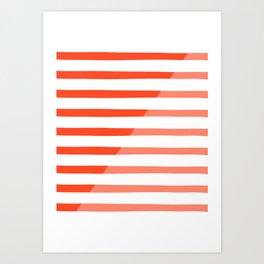 Beach Stripes Red Pink Art Print