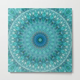 Mandala luminous Opal Metal Print
