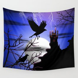 Raven's Haunted Castle Wall Tapestry