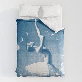 Ballerina and the Moon Phase, Ballet, Ballet Art, Blue Print, Ballet Print, Ballet Dancer Comforters
