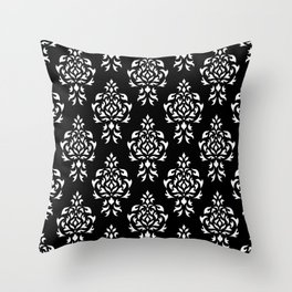 Crest Damask Repeat Pattern White on Black Throw Pillow