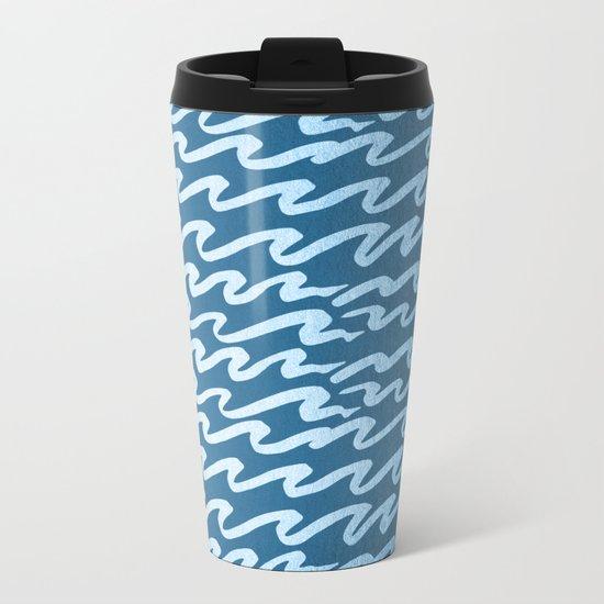 Abstract Waves - Blue Raspberry Shimmer on Saltwater Taffy Teal Metal Travel Mug