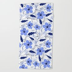 Floral pattern on a white background Beach Towel