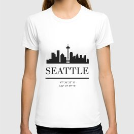 SEATTLE WASHINGTON BLACK SILHOUETTE SKYLINE ART T-shirt
