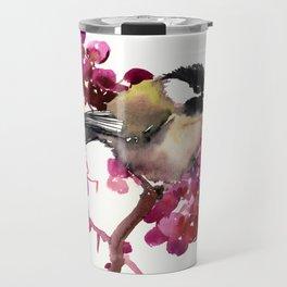 Chickadee and Berries Bird art Travel Mug