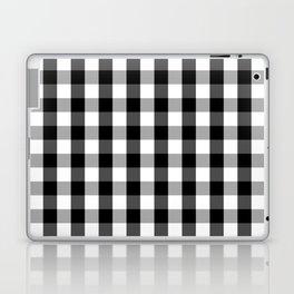 Large Black White Gingham Checked Square Pattern Laptop & iPad Skin