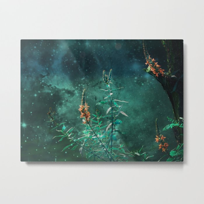 Fairy Flowers in the Jade Moonlight Metal Print