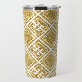 Gold Glitter Greek Pattern Travel Mug