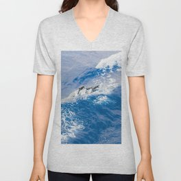 BLUE WAVES AND DOLPHINS Unisex V-Neck