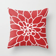 Red Modern Dahlia Flower Throw Pillow