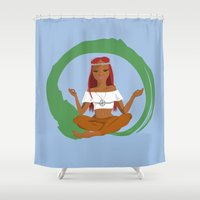 hippie Shower Curtains featuring Red Hippie by Sara Brownsword