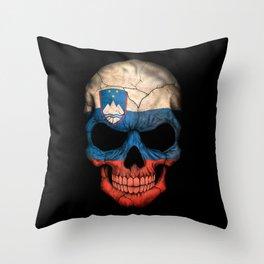 Dark Skull with Flag of Slovenia Throw Pillow