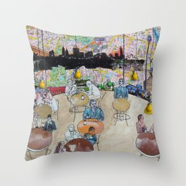 Coffee Shop NYC Throw Pillow
