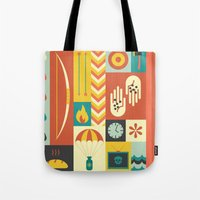 katniss Tote Bags featuring Katniss by Ariel Wilson