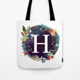 Personalized Monogram Initial Letter H Floral Wreath Artwork Tote Bag