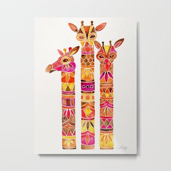 Giraffes – Fiery Palette Metal Print