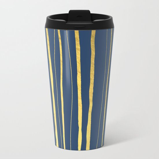 Vertical Living Navy and Gold Metal Travel Mug