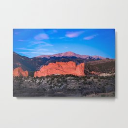 Pikes Peak - Sunrise Over Garden of the Gods in Colorado Springs Metal Print