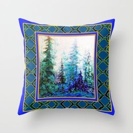 WESTERN  BLUE FOREST WATER COLOR TEAL PATTERN ART Throw Pillow