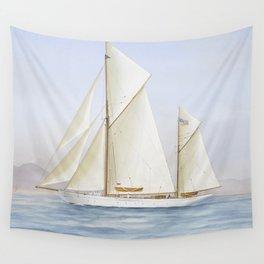 Vintage Racing Ketch Sailboat Illustration (1913) Wall Tapestry