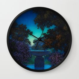 Blue Fountain at Twilight by Maxfield Parrish Wall Clock