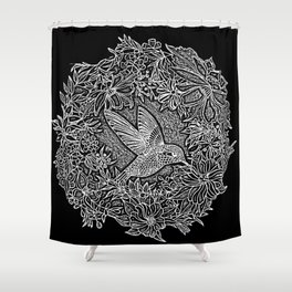 Hummingbird In Flowery Wreath Linocut Shower Curtain