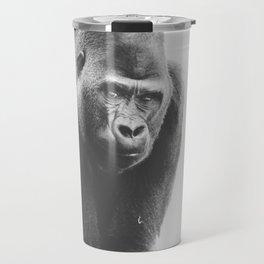 Silverback Gorilla (black + white) Travel Mug