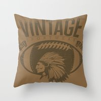 sports Throw Pillows featuring Vintage sports by Tshirt-Factory