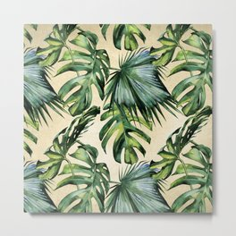 Palm Leaves Greenery Linen Metal Print