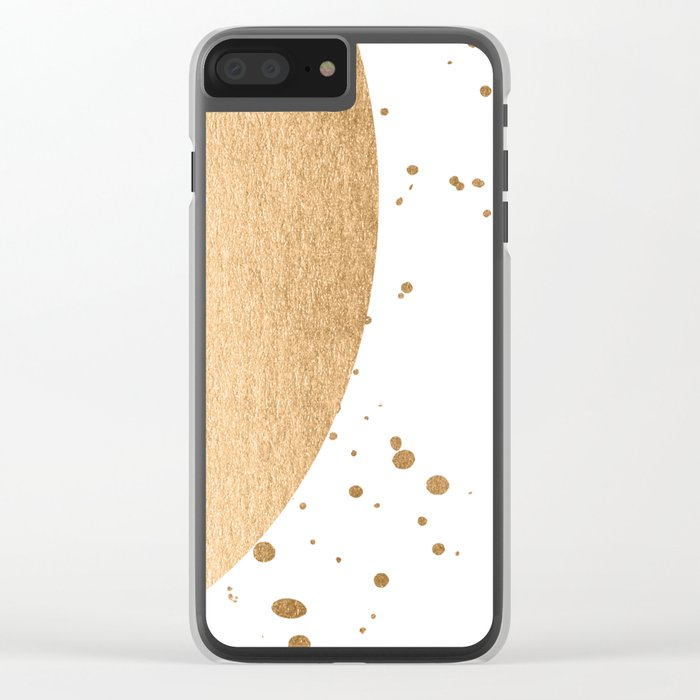 Sun Paint Spatter in Orange Sherbet Shimmer Clear iPhone Case