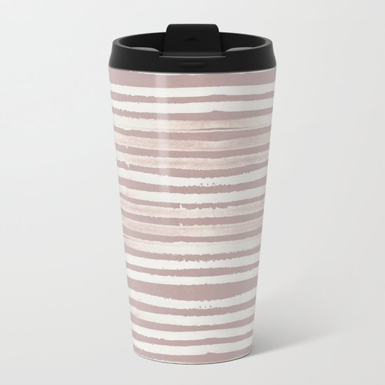 Simply Shibori Stripes Lunar Gray on Clay Pink Metal Travel Mug