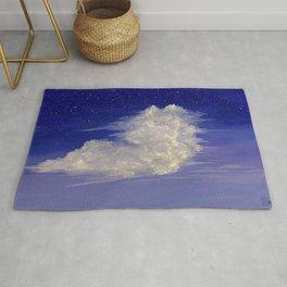 White Cloud in Blue & Purple Sky Painting Rug
