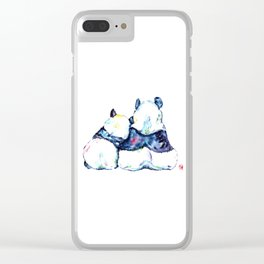 Pandas Bears Colorful Watercolor Painting Clear iPhone Case