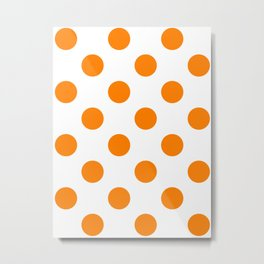 Large Polka Dots - Orange on White Metal Print
