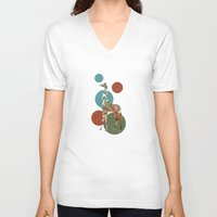 polka V-neck T-shirts featuring Giraffe Polka by Paula Belle Flores