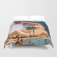swimming Duvet Covers featuring The Sphinx by Eugenia Loli
