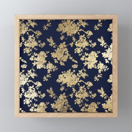 Elegant vintage navy blue faux gold flowers Framed Mini Art Print