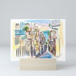 San Juan Puerto Rico Street Scene With Harbour View Mini Art Print