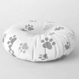 Black, White and Grey Cute Dog Paws Print. Floor Pillow