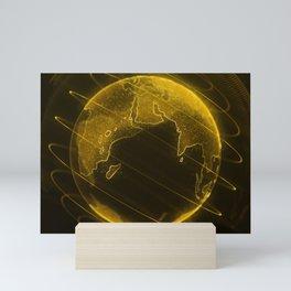 Futuristic Earth hologram Mini Art Print